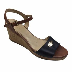 COACH Black/Brown Hinsdale Leather Cork Wedge 7.5